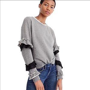 J. Crew • Heather Grey Ruffle Sleeve Pullover